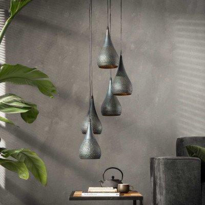 LifestyleFurn Hanglamp 'Daniel' 5-lamps, Ø15cm