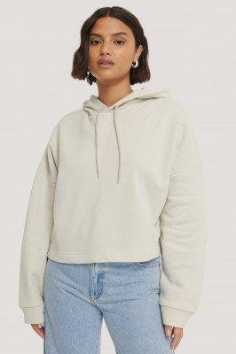 NA-KD Basic NA-KD Basic Organisch Basic Cropped Hoodie - Offwhite