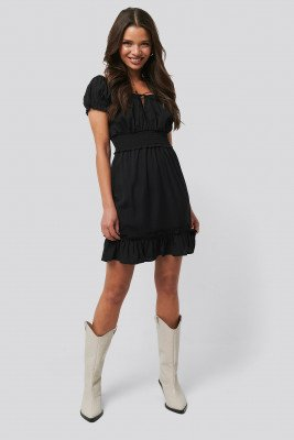 NA-KD Boho NA-KD Boho Puff Sleeve Mini Flounce Dress - Black