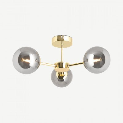 MADE.COM Globe badkamer hanglamp, messing en rookglas