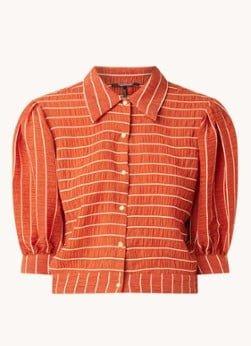 Scotch en Soda Scotch & Soda Cropped blouse in lyocellblend met structuur