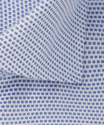 Michaelis Michaelis heren dobby overhemd blauw strijkvrij