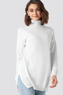 NA-KD NA-KD Turtle Neck Long Sweater - White