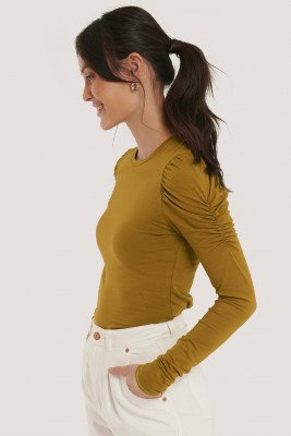 NA-KD Trend NA-KD Trend Puff Long Sleeve Jersey Top - Green
