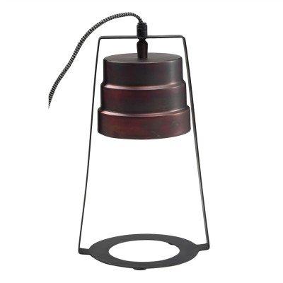 Firawonen.nl PTMD sancy bronze ijzeren tafellamp rond met kap