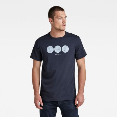 G-Star RAW Circle Object Back Graphic T-Shirt - Donkerblauw - Heren