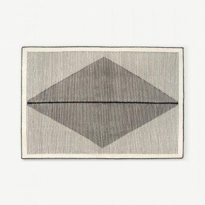 MADE.COM Camden vloerkleed 140 x 200cm, medium, zwart and gebroken wit