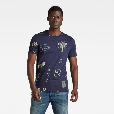 G-Star RAW Graphics Allover Slim T-Shirt - Meerkleurig - Heren