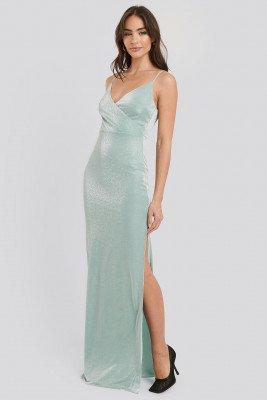 Trendyol Sparkly Split Maxi Dress - Green