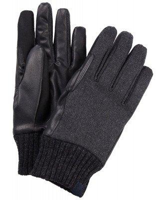 Profuomo Profuomo heren grijs leren handschoenen met gebreide manchet