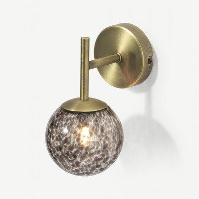 MADE.COM Julia wandlamp, bruin gevlamd glas en messing