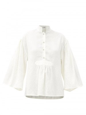 Matchesfashion Etro - Patmos Stand-collar Embroidered Silk Blouse - Womens - White