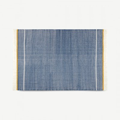 MADE.COM Elke geweven wollen vloerkleed, 160 x 230cm, middernachtblauw en mosterdgeel