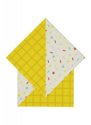 HEMA Servetten - 33 X 33 - Papier - Geel Confetti - 20 Stuks (multi)