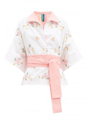 Matchesfashion Rianna + Nina - Kendima Floral-embroidered Cotton Shirt - Womens - White Multi