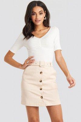 NA-KD Classic NA-KD Classic Belted Mini Skirt - Beige