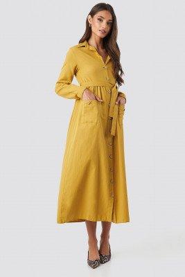 Trendyol Belted Shirt Midi Dress - Yellow