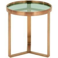 Aula ronde bijzettafel, geborsteld koper en groen glas