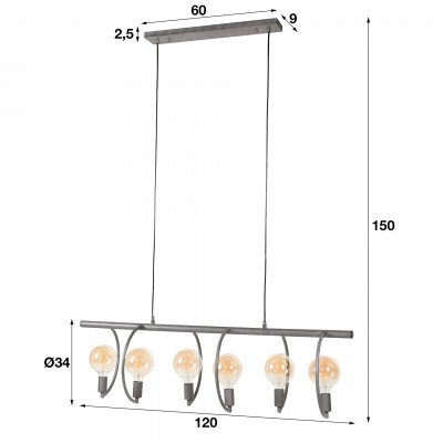 LifestyleFurn Hanglamp 'Cynthia' 6-lamps, Ø125cm, kleur Oud ZIlver