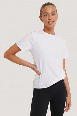 NA-KD Reborn NA-KD Reborn Organisch T-shirt Met Ruwe Zoom - White