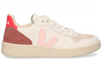 VEJA VEJA V-10 Leather Wit/Roze Damessneakers