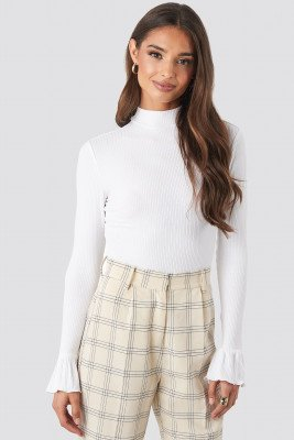 NA-KD Ruffle Sleeve Rib Top - White