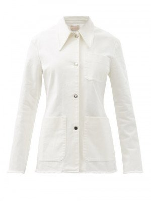 Matchesfashion Christopher Kane - Patch-pocket Organic-cotton Twill Jacket - Womens - White