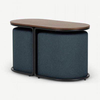 MADE.COM Marade tafel en poefset, oceaanblauw