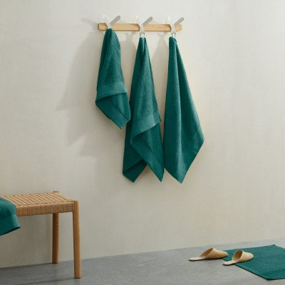 MADE.COM Kacee set van 4 handdoeken van 100% katoen, donkerturkoois