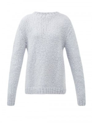 Matchesfashion Gabriela Hearst - Lawrence Round-neck Cashmere Sweater - Womens - Light Blue