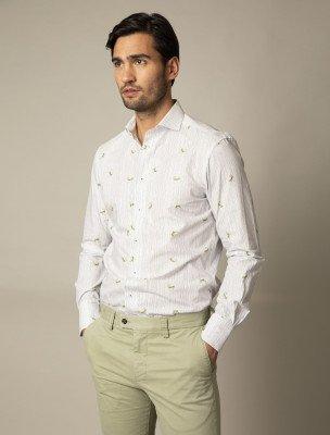 Cavallaro Napoli Cavallaro Napoli Heren Overhemd - Possino Overhemd - Wit