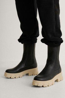 NA-KD Shoes NA-KD Shoes Laarzen Met Elasctisch Profielschacht - Black
