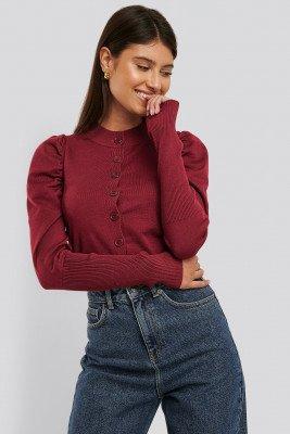 Glamorous Vest Met Pofmouwen - Red