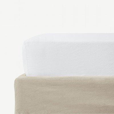 MADE.COM Tira hoeslaken van linnen en katoenmix, tweepersoons, wit