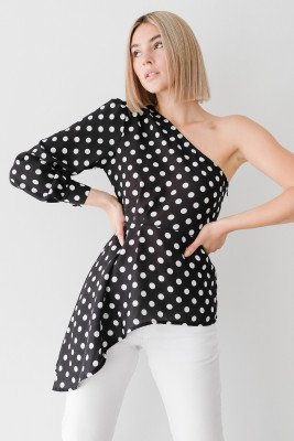 Stefanie Giesinger for nu-in 100% Recycled One Shoulder Asymmetric Pleated Polka Dot Blouse