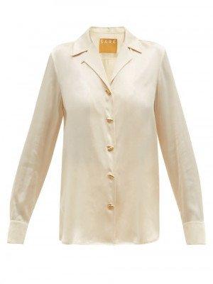 Matchesfashion S.a.r.k - Daily Dose Pill-button Short-sleeved Silk Blouse - Womens - Cream