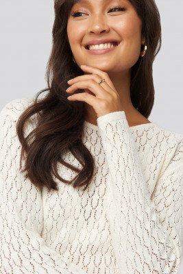 NA-KD Lace Stitch Round Neck Sweater - White