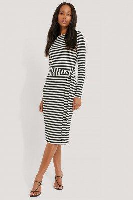 NA-KD NA-KD Striped Jersey Dress - Black,White