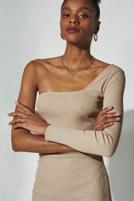 Amalie Star for nu-in One Shoulder Rib Midi Dress