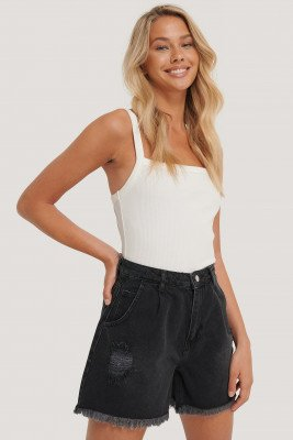 Trendyol Jeanshort Met Ruwe Zoom - Black