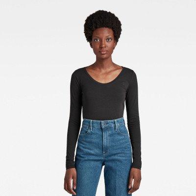 G-Star RAW Basic Round Neck Long Sleeve T-Shirt - Zwart - Dames