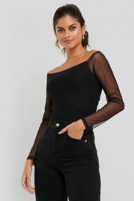 NA-KD Party Slip Shoulder Dotted Mesh Top - Black