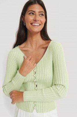 NA-KD Trend NA-KD Trend Gebreid Vest Met Pareldetails - Green