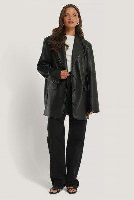 NA-KD Trend NA-KD Trend Maxi Oversized Pu-Blazer - Black