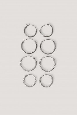 NA-KD Accessories Mini Hoop Earring Set - Silver