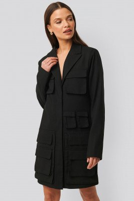 NA-KD Trend Pocket Blazer Dress - Black