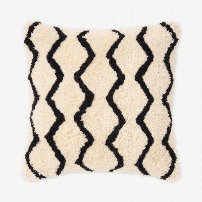 MADE.COM Dulip Berberstijl kussen, 45 x 45 cm, lichtbeige en zwart