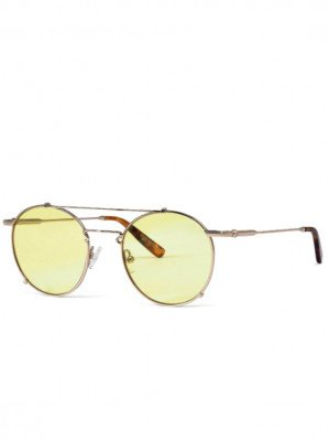 Hot Futures Hot Futures unisex vegan Zonnebril Road Tripper - Soft Gold   Mellow Yellow Lens Goud ONE SIZE