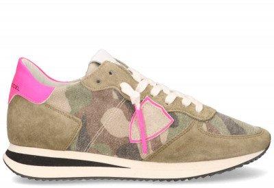 Philippe Model Philippe Model Tropez X Camouflage Neon Groen/Roze Damessneakers