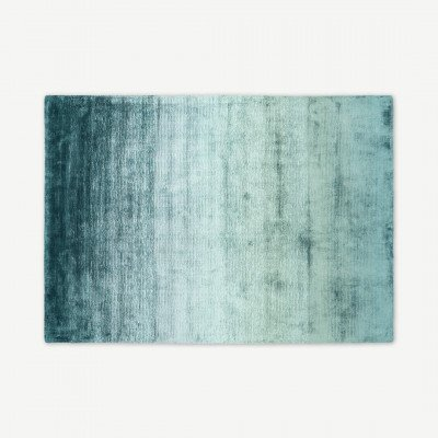MADE.COM Tazim viscose vloerkleed, groot, 160 x 230 cm, donkerturkoois en houtskoolgrijs
